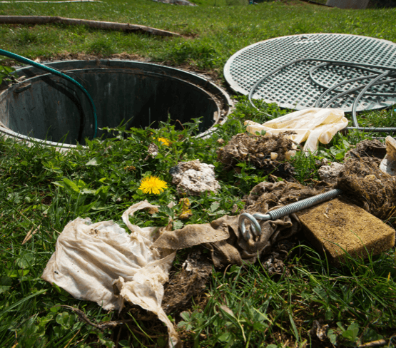 waste materials pulled out of a nearby open septic tank.